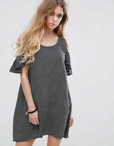 Платье с открытыми плечами и принтом Rock & Religion - Мульти