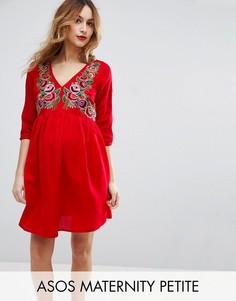 Платье мини с вышивкой ASOS Maternity PETITE - Красный