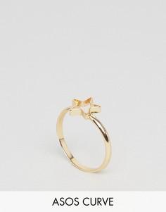 Кольцо со звездой ASOS CURVE - Золотой