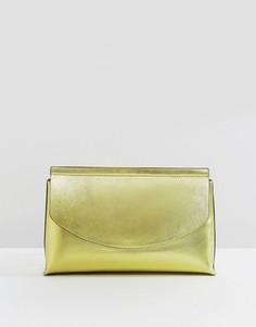 Клатч цвета металлик с закругленным клапаном ASOS - Золотой