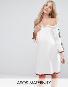 Платье с открытыми плечами и вышивкой ASOS Maternity - Белый