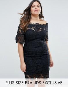 Кружевное платье с вырезом лодочкой Paper Dolls Plus - Черный