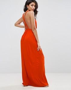 Трикотажное пляжное платье макси с перекрестом на спине ASOS - Красный