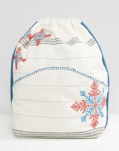 Рюкзак с вышивкой, шнурками и ремешком Star Mela - Мульти