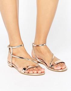 Асимметричные сандалии металлик Dune - Золотой