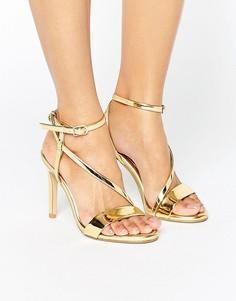 Босоножки металлик на каблуке с асимметричной отделкой Dune - Золотой
