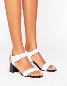 Босоножки на блочном каблуке с эффектом крокодиловой кожи Dune Jetty - Белый