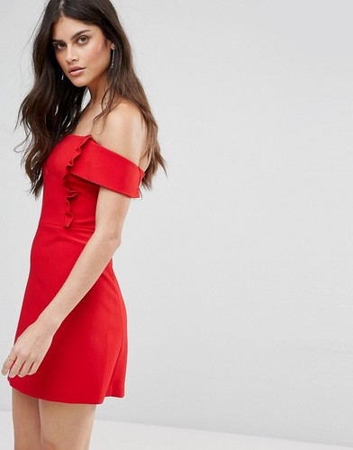 Платье с открытыми плечами и оборками BA&SH - Красный