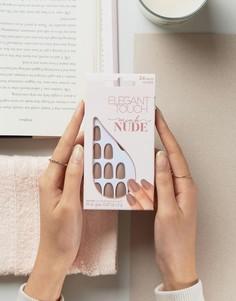 Светло-бежевые накладные ногти овальной формы с матовым эффектом Elegant Touch - Бежевый