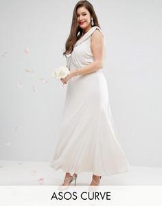 Платье макси с драпировкой ASOS CURVE WEDDING - Розовый