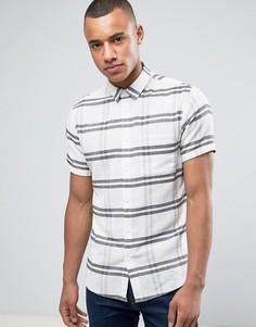 Рубашка в крупную клетку с короткими рукавами Solid - Бежевый