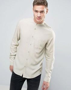 Длинная рубашка классического кроя с добавлением льна и воротником на пуговице Solid - Бежевый