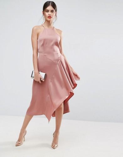 Мягкое драпированное асимметричное платье миди ASOS - Бежевый