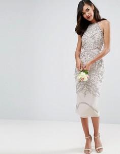 Платье-футляр миди с цветочным принтом и драпировкой на спине ASOS WEDDING - Серый