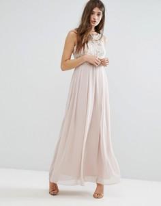 Платье макси с декоративной отделкой на лифе Boohoo - Розовый