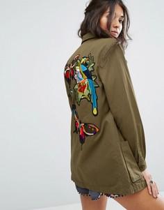 Рубашка-куртка в стиле милитари с вышивкой на спине Glamorous - Зеленый
