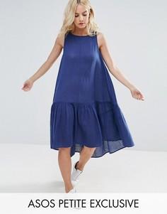 Свободное платье-трапеция миди из ткани добби ASOS PETITE - Темно-синий
