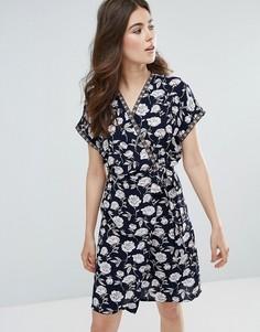 Платье-кимоно с цветочным принтом и запахом Trollied Dolly - Темно-синий
