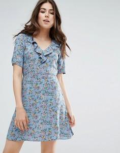 Чайное платье с цветочным принтом Trollied Dolly - Серый