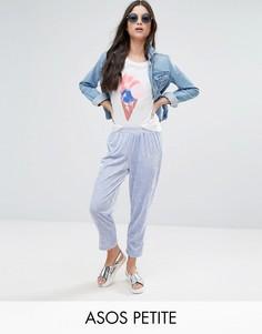 Бархатные брюки галифе без застежки ASOS PETITE - Фиолетовый