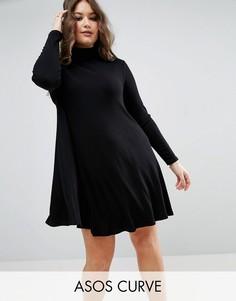 Свободное платье в рубчик с длинными рукавами ASOS CURVE - Черный
