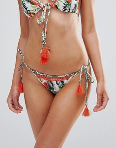 Плавки бикини с ананасами и завязками с кисточками Playful Promises - Мульти
