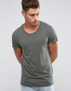 Удлиненная футболка с закругленным краем Jack & Jones Originals - Зеленый