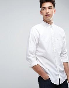 Белая эластичная рубашка зауженного кроя с логотипом Hollister - Белый