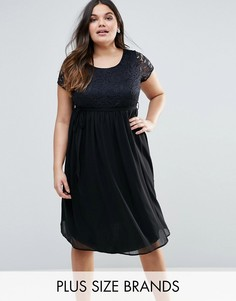 Платье с кружевным топом Lovedrobe Plus - Черный
