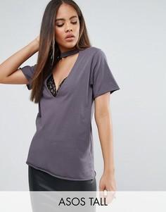 Выбеленная футболка с глубоким декольте и кружевными вставками ASOS TALL - Серый