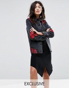 Джинсовая куртка с вышитыми розами Liquor & Poker - Черный