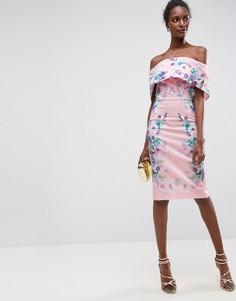 Платье миди с открытыми плечами и цветочным принтом ASOS - Розовый