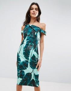 Платье-футляр миди с пальмовым принтом ASOS - Зеленый