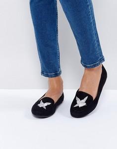 Туфли из искусственной замши с вышивкой птицы New Look - Черный