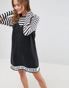 Джинсовое платье с вышивкой ASOS X LOT STOCK & BARREL - Черный