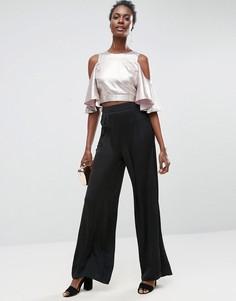 Плиссированные брюки с широкими штанинами ASOS - Черный