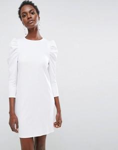Креповое платье мини с пышными рукавами ASOS - Белый