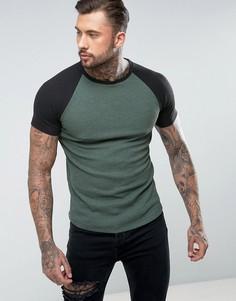 Длинная темно-серая обтягивающая футболка с рукавами реглан ASOS - Зеленый