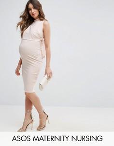 Платье с высоким воротником и завязками по бокам ASOS Maternity NURSING - Розовый