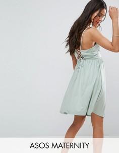 Короткое приталенное платье в стиле 90-х со шнуровкой на спине ASOS Maternity - Зеленый