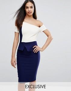 Платье-футляр контрастной расцветки со складками-оригами Vesper - Мульти