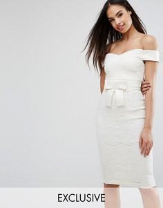 Кружевное платье-футляр с открытыми плечами и атласным бантом Vesper - Кремовый