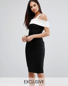 Платье-футляр c контрастной атласной отделкой Vesper - Черный
