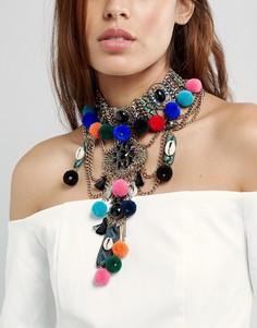 Ярусное ожерелье-чокер с подвесками ALDO - Серебряный