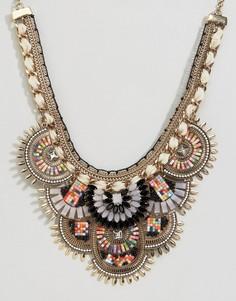 Броское ожерелье с отделкой бисером ALDO - Золотой