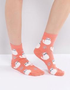 Пушистые носки с котом ASOS - Розовый