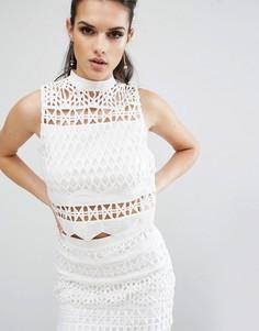 Ажурный топ без рукавов Kendall + Kylie - Белый