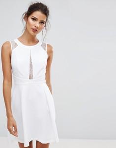 Белое платье с кружевом с принтом BCBGeneration - Белый