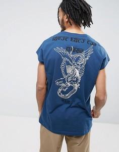 Свободная футболка без рукавов с принтом ASOS - Синий