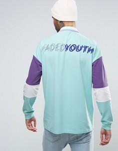 Свободное поло из пике с длинными рукавами и принтом Faded Youth на спине ASOS - Зеленый